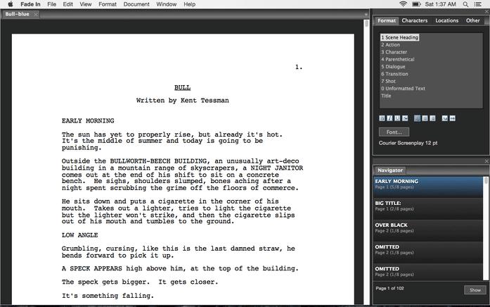 fade in screenwriting software