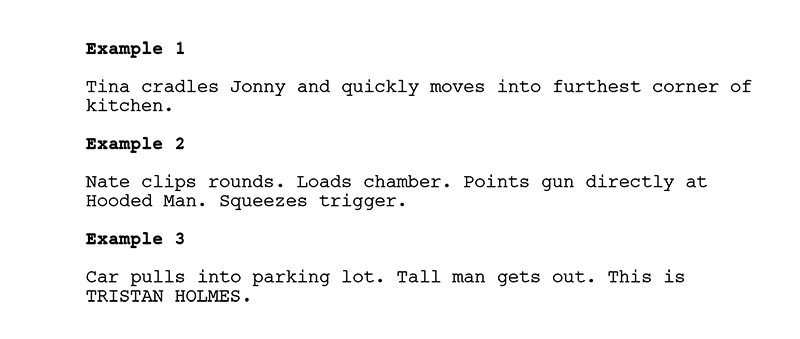writing action in a script