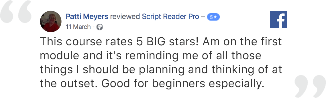 Online Screenwriting Course Focused on Practical Exercises