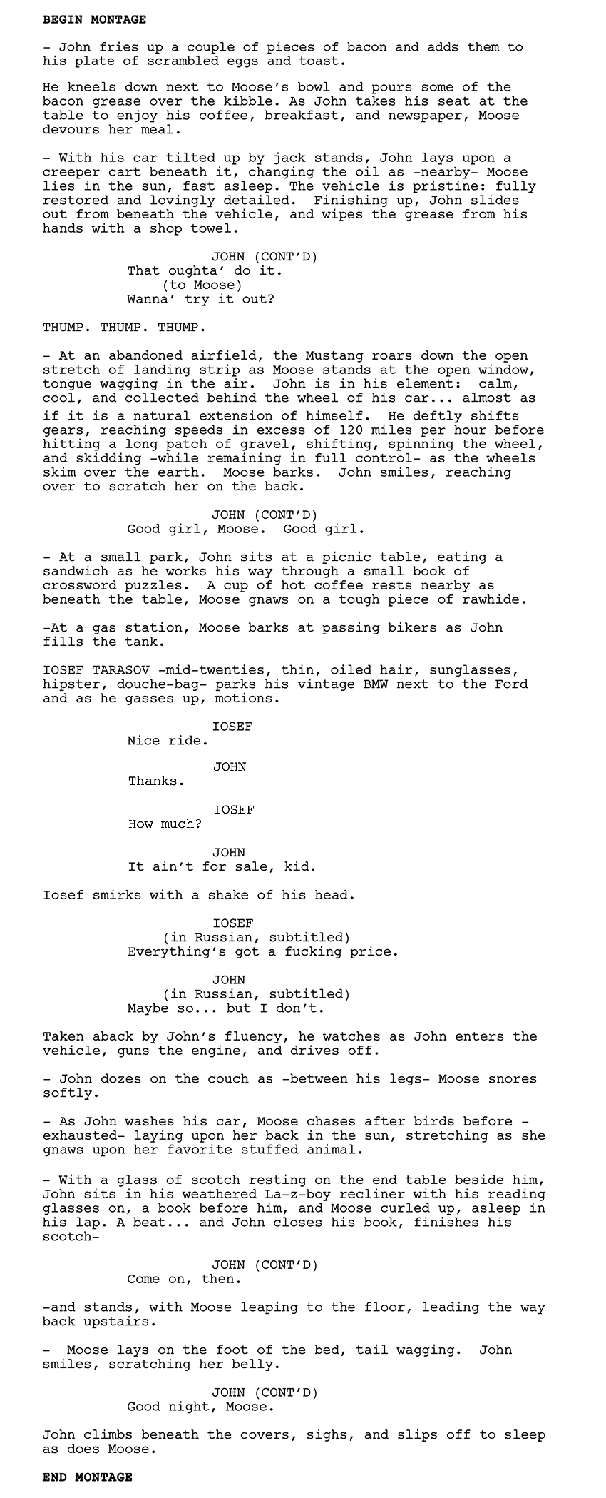 how to write a montage in a script